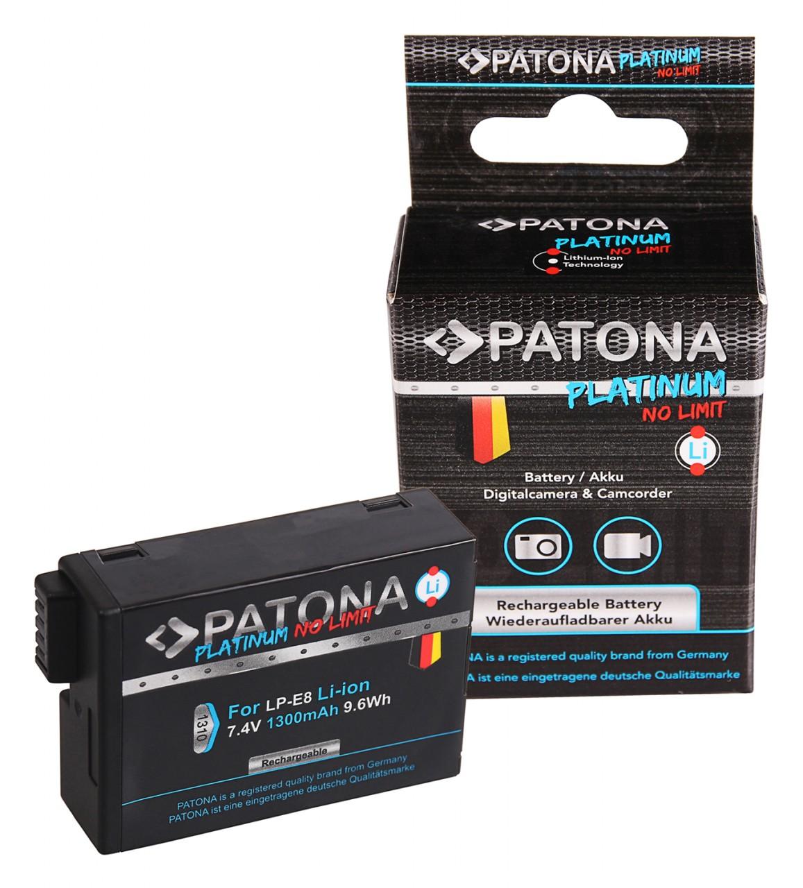 PATONA Platinum Battery f. Canon LP-E8 LP-E8+ EOS 550D, 600D