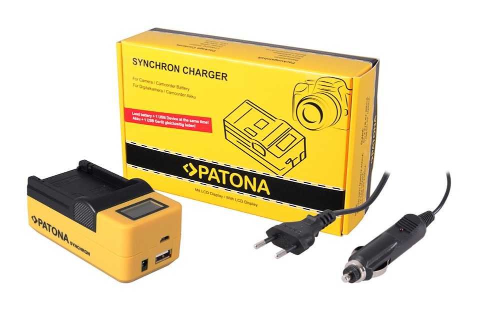 PATONA Synchron USB Charger f. Canon LPE6 LP-E6 with LCD