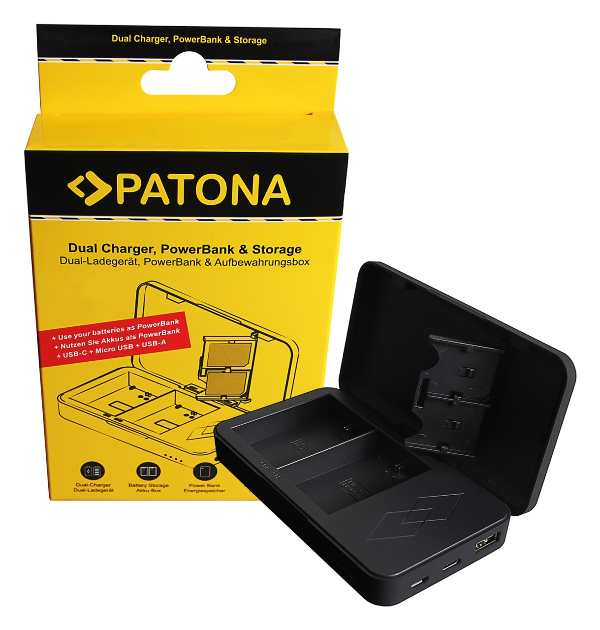 PATONA Dual charger with Powerbank function and memory card
