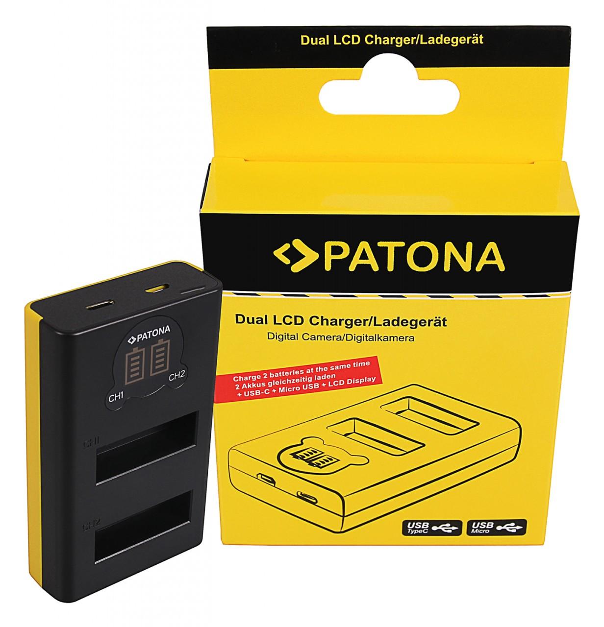 PATONA Dual LCD USB Charger f. DJI Osmo Action Kamera AB1 P0