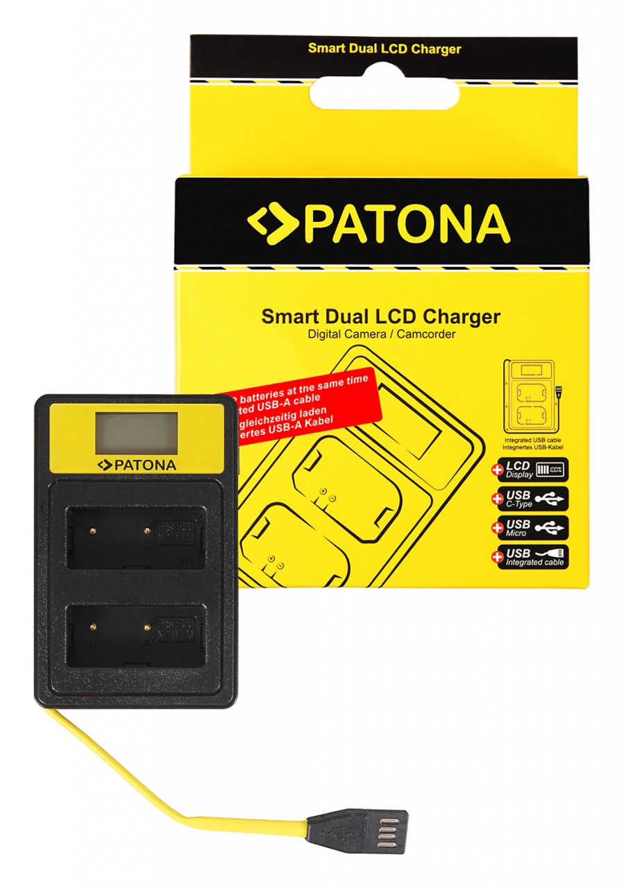 PATONA Smart Dual LCD USB Charger f. Fuji NP-W126 HS30 EXR H