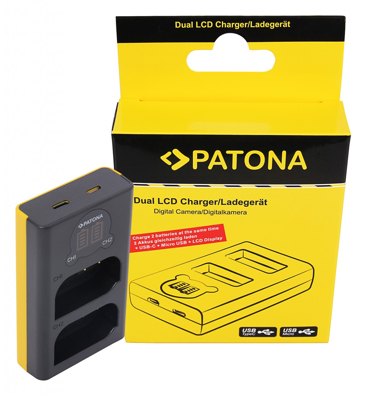 PATONA Dual LCD USB Charger f. Panasonic DMW-BLK22 DC-S5 G9