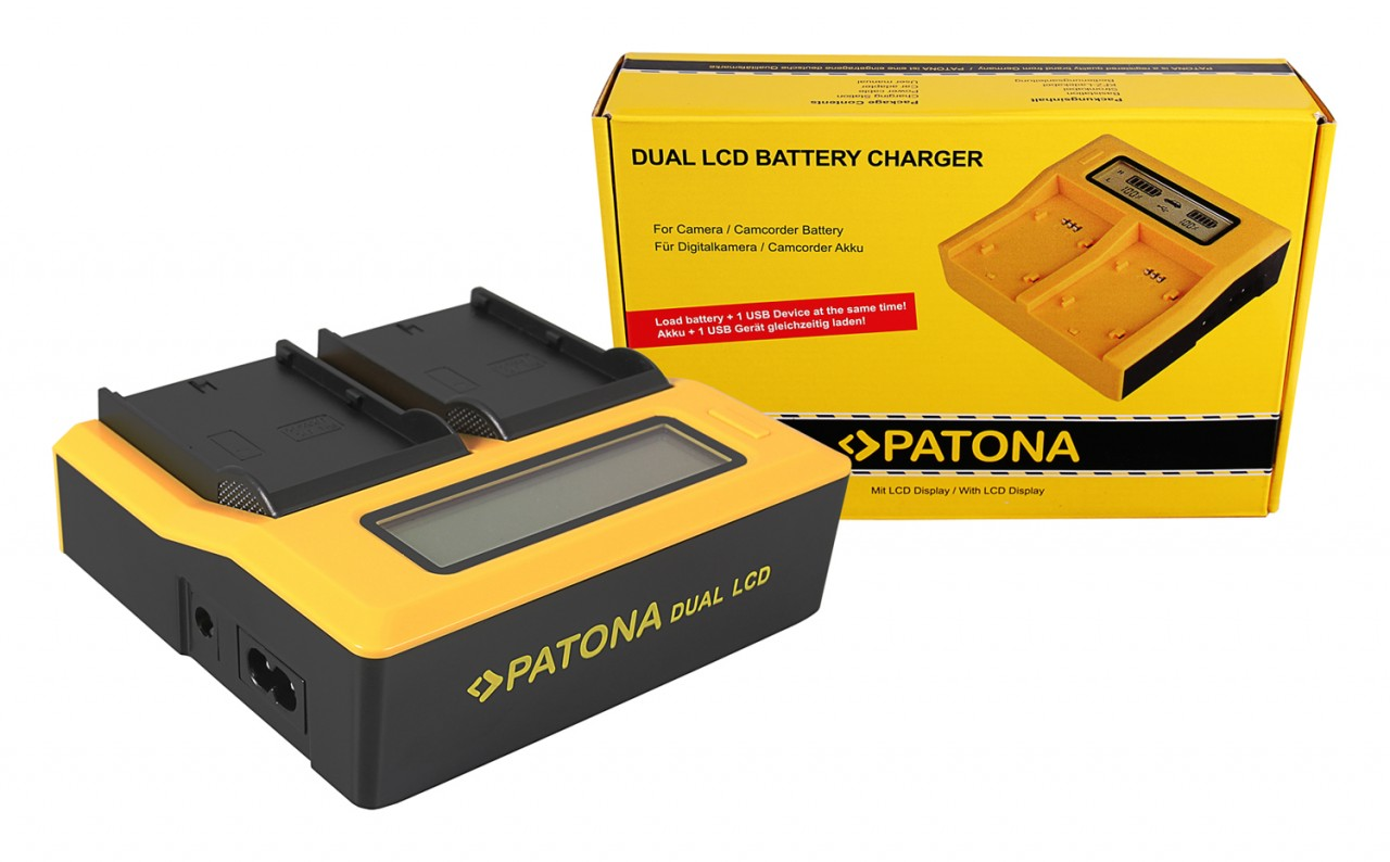 PATONA Dual LCD USB Charger for JVC SSL-75 SSL-JVC50 SSL-JVC