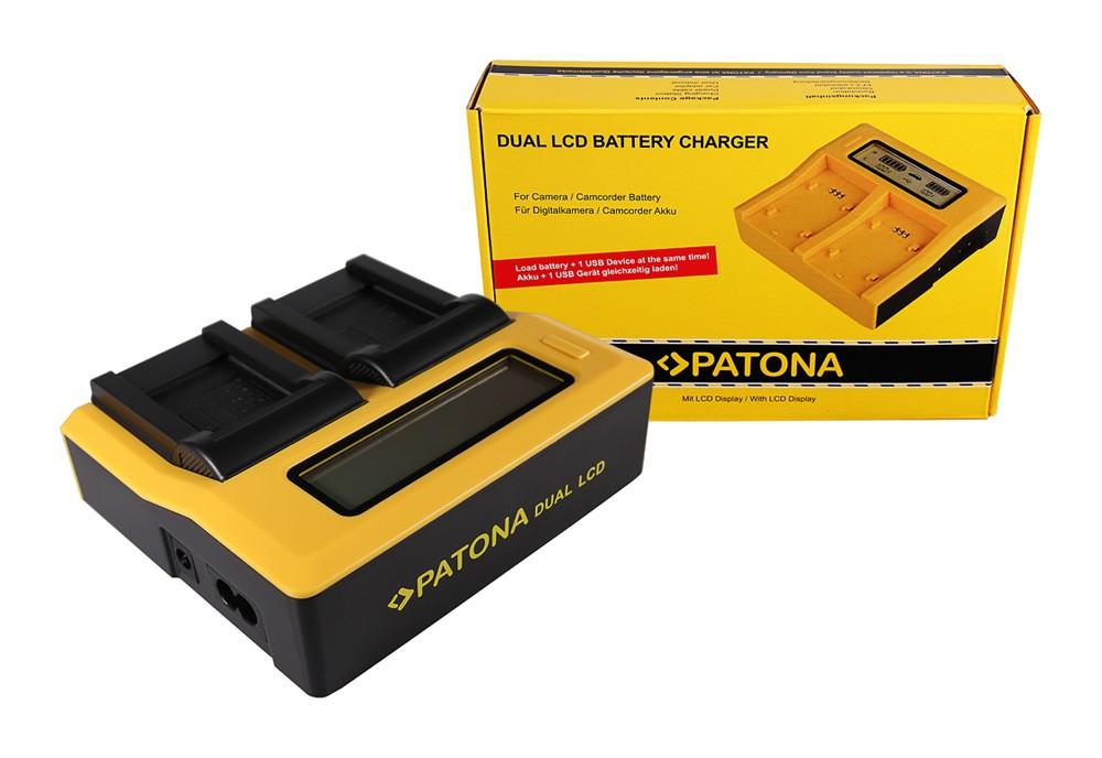 PATONA Dual LCD USB Ladegerät f. Kodak Olympus Li-40B Klic 7