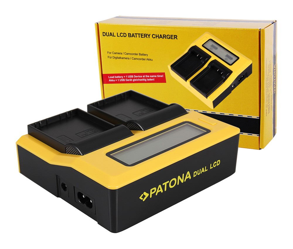 PATONA Dual LCD USB Charger for Olympus BLH-1 OM-D EM-1 Mark