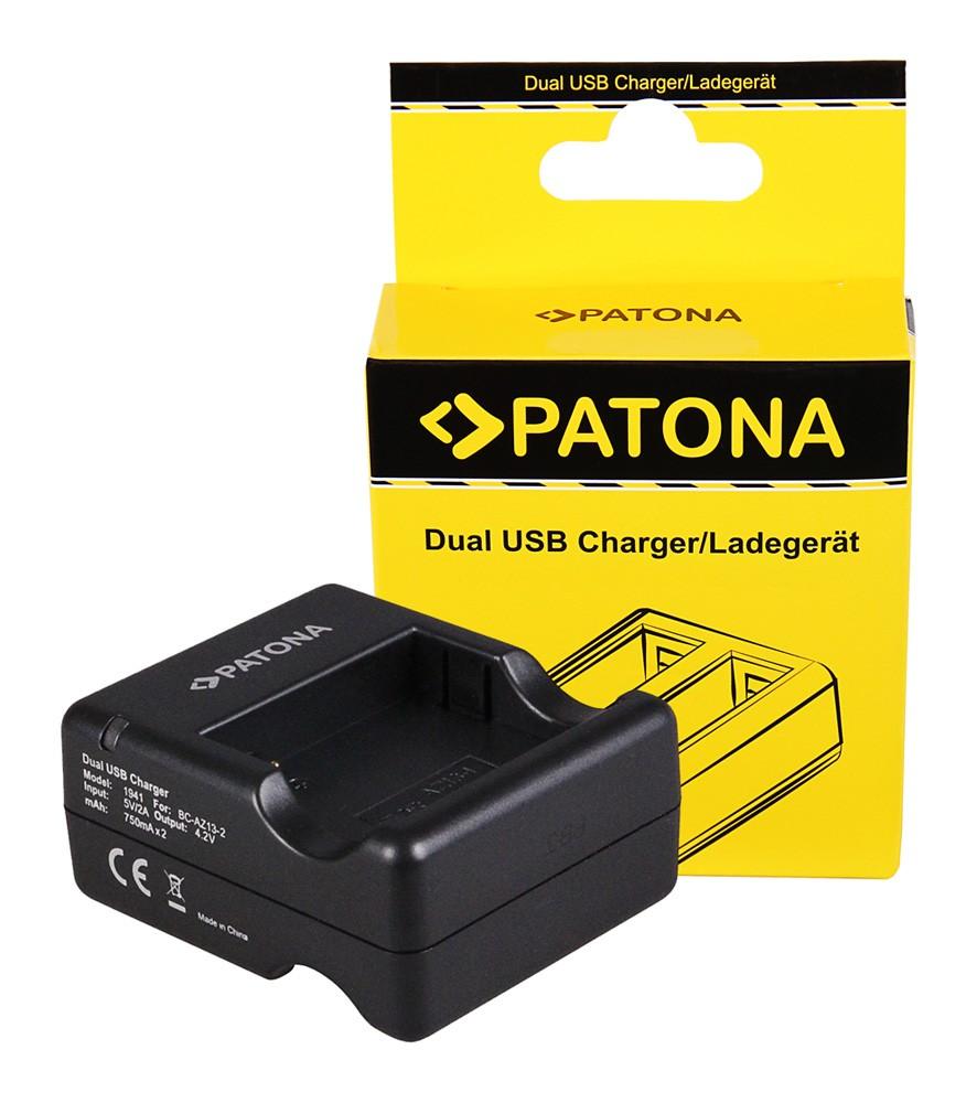 PATONA Dual Quick-Charger f. Xiaomi Yi AZ13-2 AZ13-1 incl. M