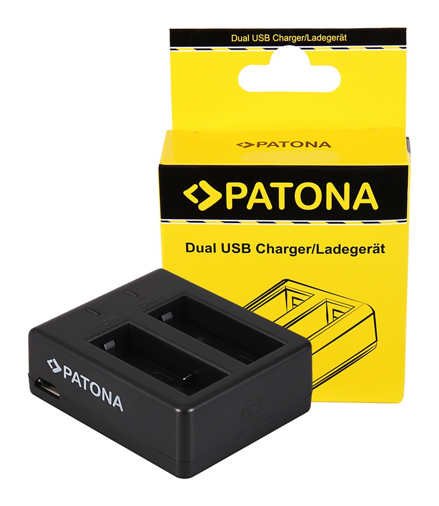 PATONA USB Dual Charger f. SJCAM SJ4000 SubTig3 Rollei Actio
