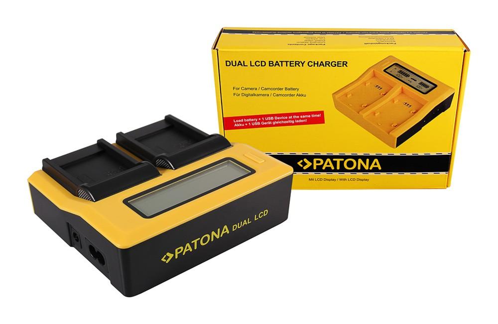 PATONA Dual LCD USB Ladegerät f. Samsung SLB-07A TL TL100 TL
