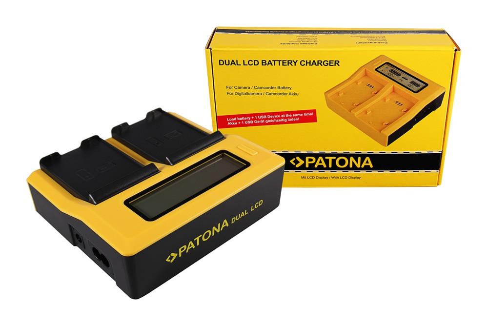 PATONA Dual LCD USB Ladegerät f. Samsung EB-F1A2GBU I519 I56