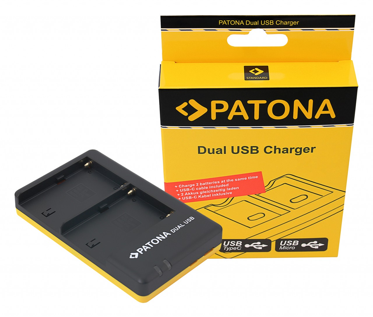 PATONA Dual Quick-Charger f.Sony NP-FM500H FM500H incl. USB-