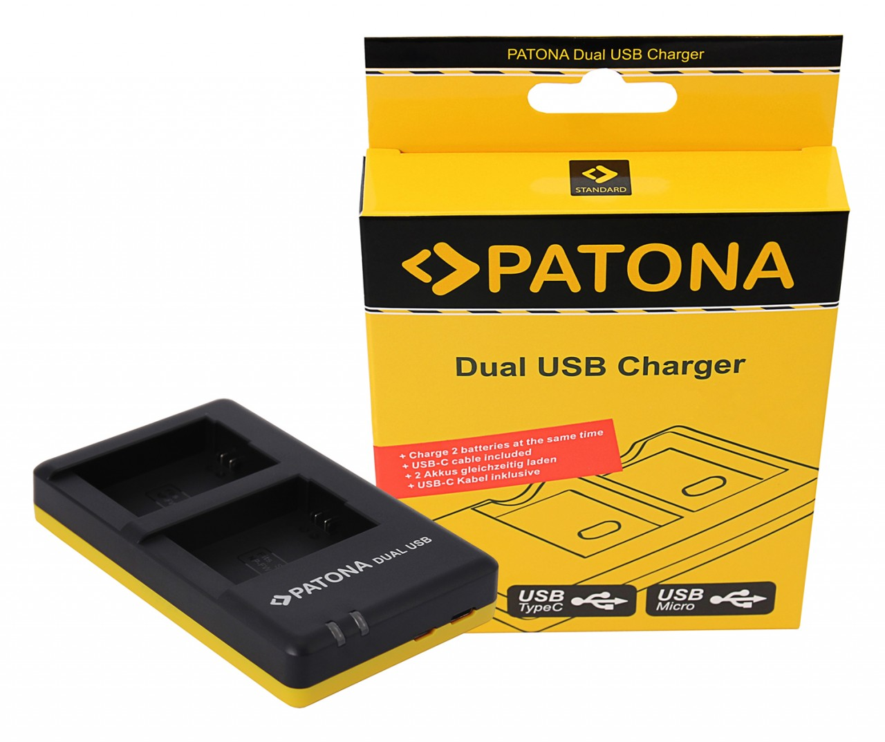 PATONA Dual Quick-Charger f.Sony NP-FW50, NPFW50 incl. USB-C