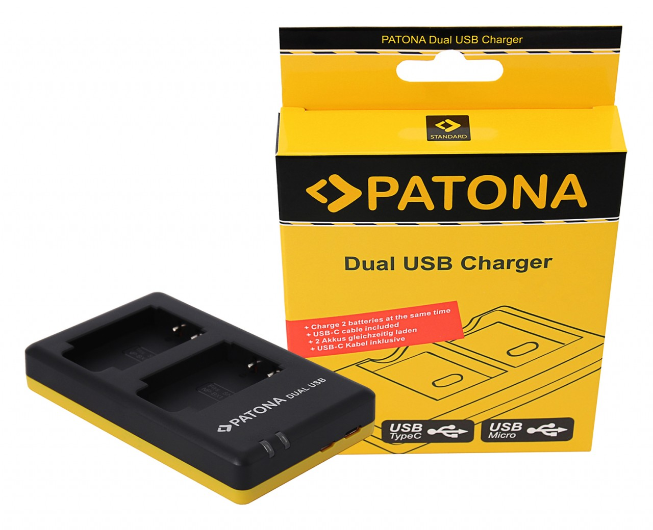 PATONA Dual Quick-Charger f.Sony NP-BX1, NPBX1 incl. USB-C c