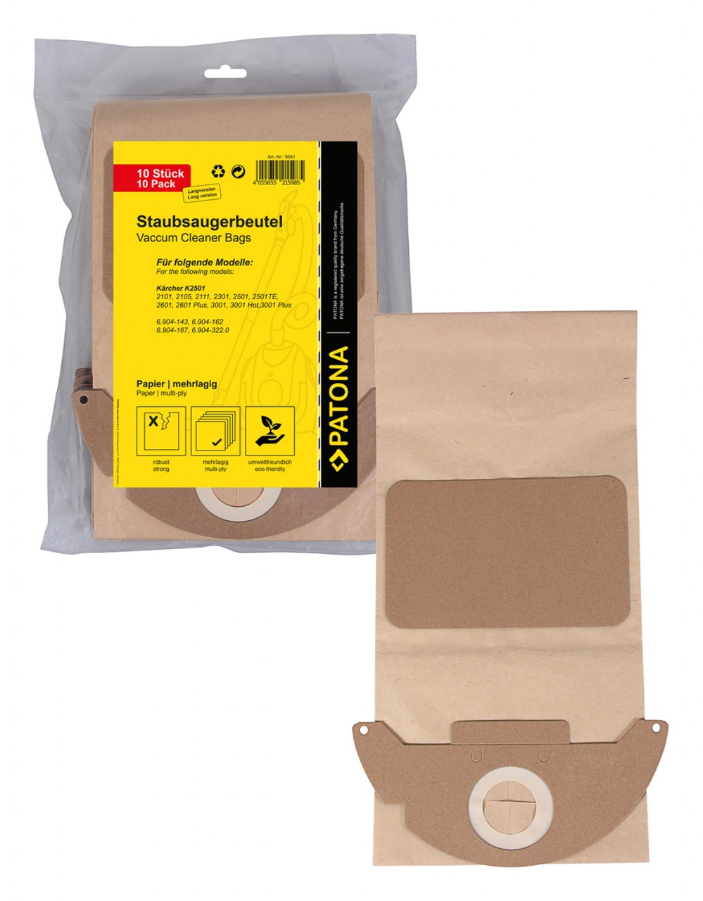 PATONA 10 vacuum paper cleaner bag multilayered f. Kärcher K