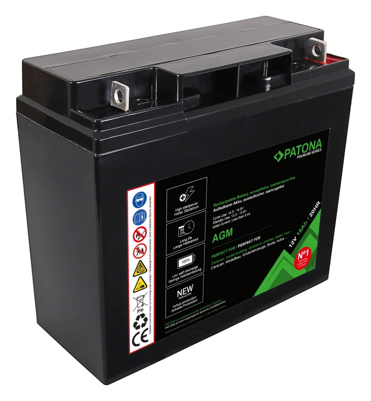 PATONA Premium AGM Lead Battery 12V 18Ah 20HR