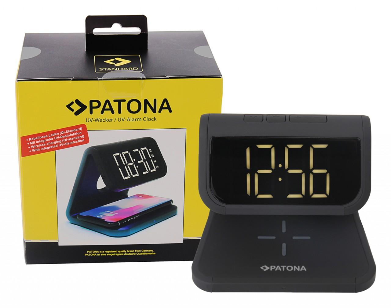 PATONA Alarm clock with LCD display wireless charging functi
